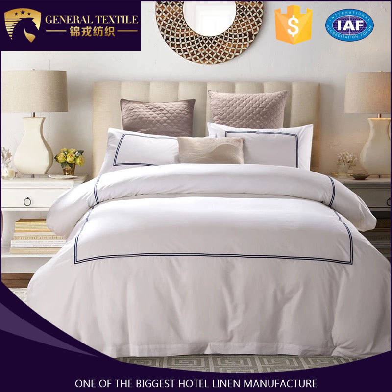 High Quality Pure White Embroidery 100% Cotton Hotel Bed Linen for hotel