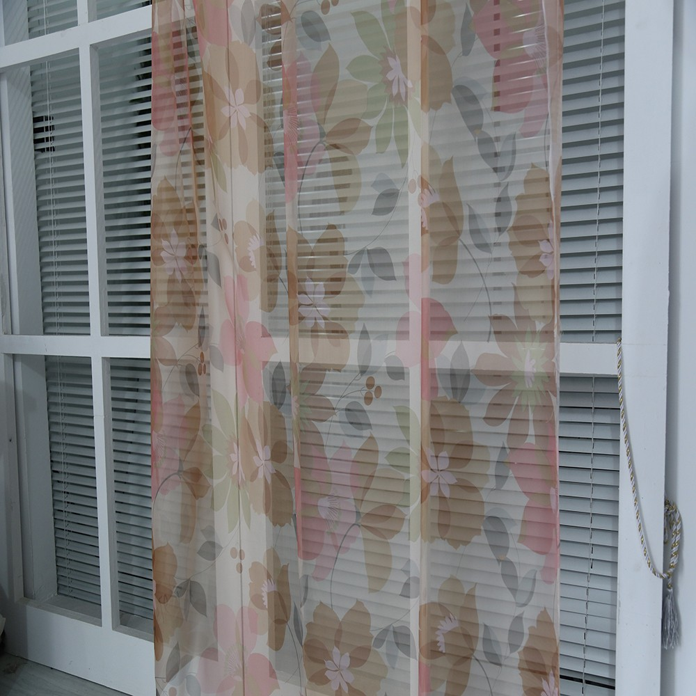 Best quality China flower printed woven voile fabric curtain for sale