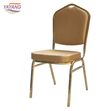 Malaysia restaurant stainless steel foldable gold dining chair with banquet chair cover