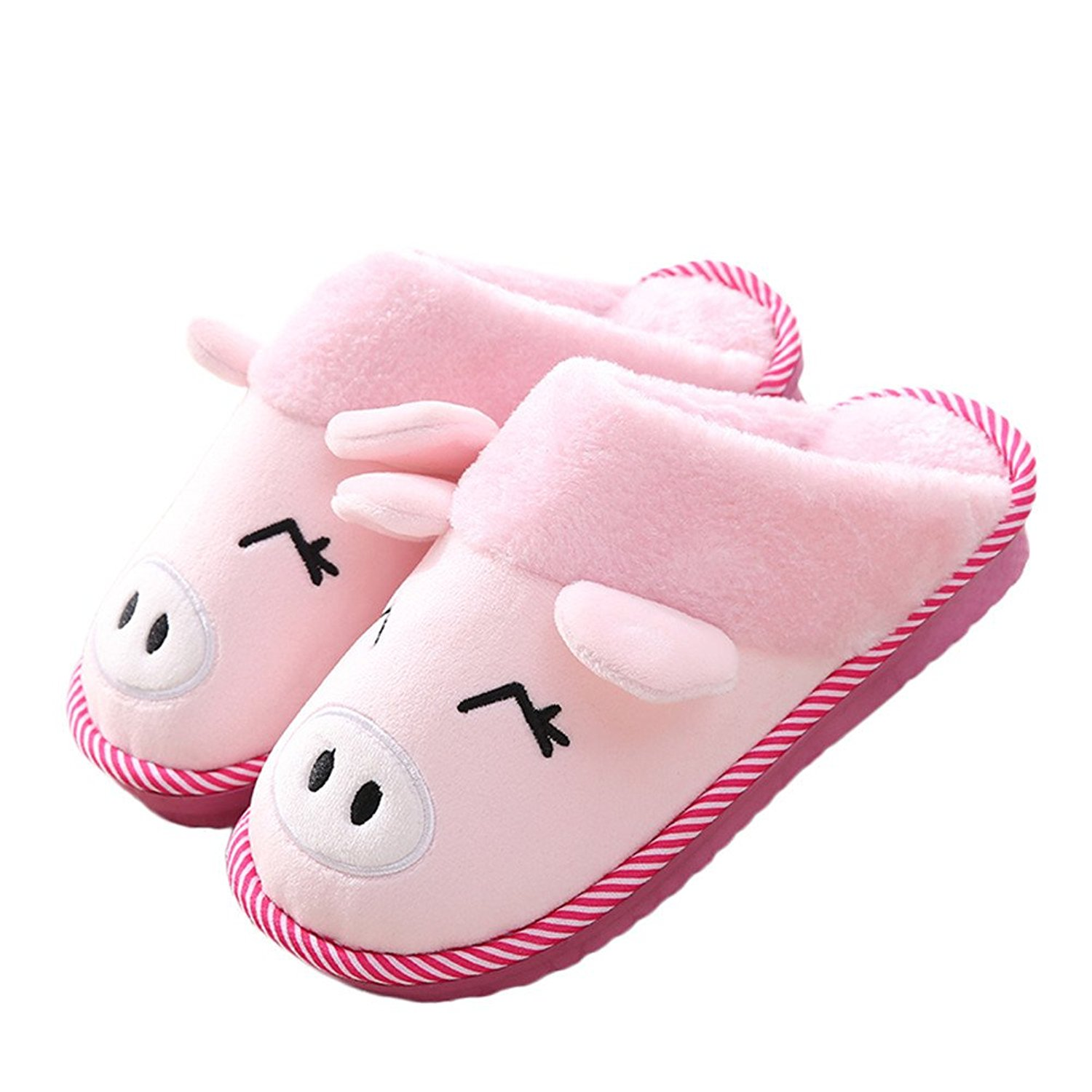 4796a900e30fbf Get Quotations · Winter Slippers Womens and Mens Indoor Warm Fleece Slippers  Cute Cartoon Pig Winter Soft Cozy Booties