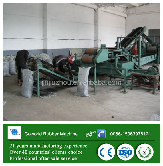 Waste tire recycle to crumb rubber and rubber processing machine