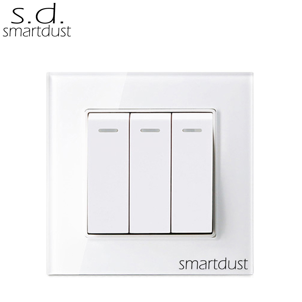 Smartdust Crystal Glass Panel Waterproof PC Button On Off Light Switch