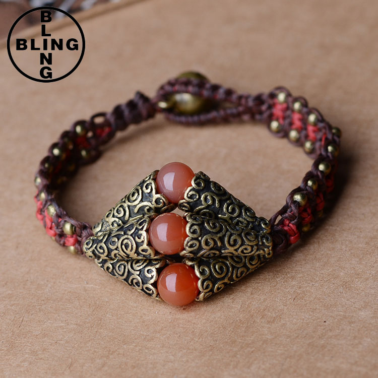 thai style handmade original design jewelry wholesale agate wax wire copper accessory simple female bracelet