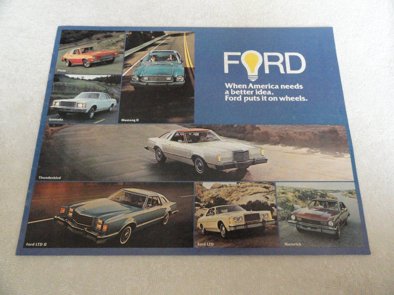 1977 FORD CARS FULL-LINE: THUNDERBIRD, LTD II, LTD & LTD LANDAU, GRANADA, MUSTANG II, PINTO & MAVERICK COLOR SALES BROCHURE - 472-Rev. 1/77 - USA - EXCELLENT !!