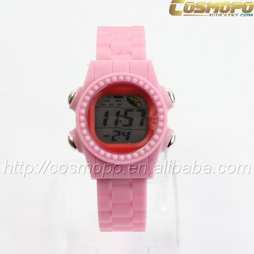 Pink Athlete Cycling Racing Sport Alarm Date / Day Girl Women LCD watch