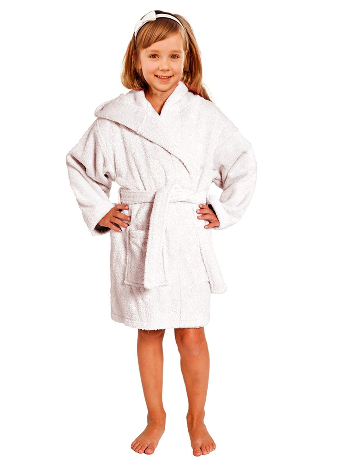 d0747b3002 Get Quotations · Terry Towel Bathrobe 100% Cotton White Kids Hooded Robe