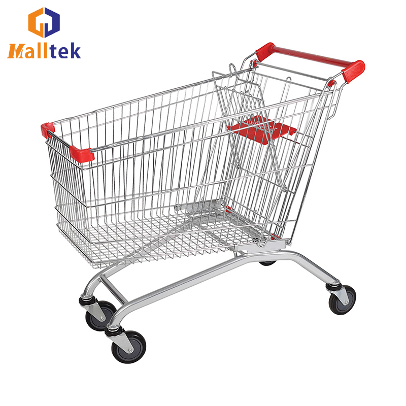 Useful 240l European PU Wheels Supermarket Grocery Shopping Cart Manufacturers