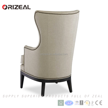 modern fabric french high back wing chair with armrests