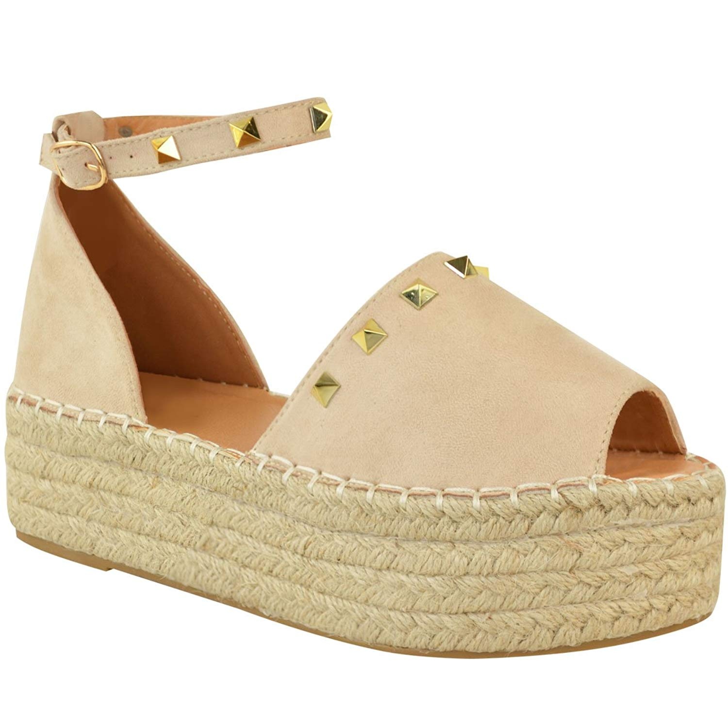 fde473e88f8c Get Quotations · Fashion Thirsty Womens Flatforms Sandals Studded Summer  Espadrille Platforms Shoes Size