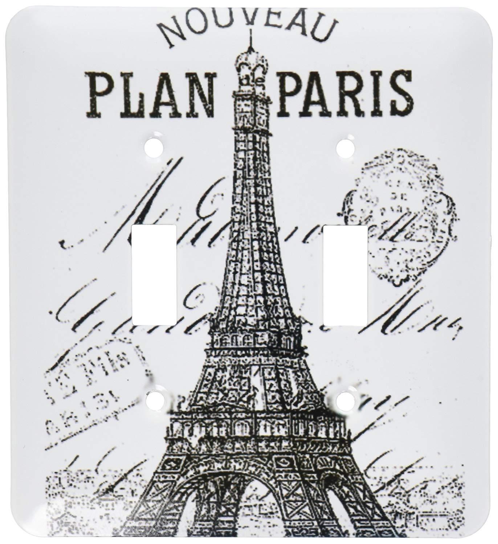 3dRose LSP_110389_2 Nouveau Paris Vintage Eiffel Tower Double Toggle Switch, Multicolor