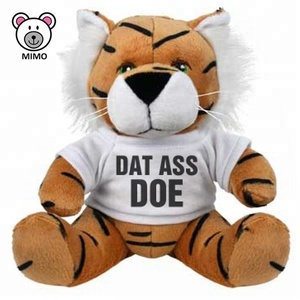 Giveaways Gift Brown Tiger Soft Toy With T Shirts Wholesales Custom Printing LOGO Cartoon Kids Plush Toy Stuffed Animal Tiger