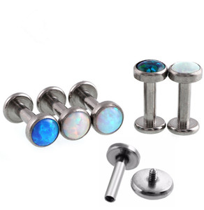 G23 titanium internally threaded opal labret in various color