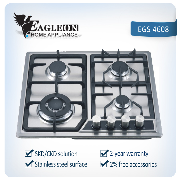 Cooking home Stainless steel 4 burners gas stove/gas hod
