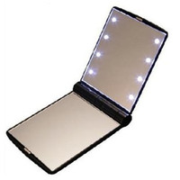 Vanity girl led Makeup Mirrors Mini Portable Folding Compact Hand Cosmetic Pocket Mirror with 8 LED Light
