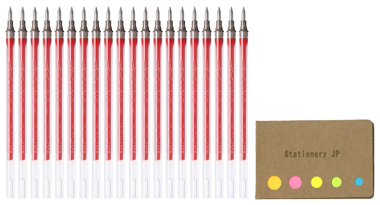 Uni-ball UMR-1-28 Refills for Signo Gel Ink Ballpoint Pen, UM-151 DX, 0.28mm, Red Ink, 20-pack, Sticky Notes Value Set