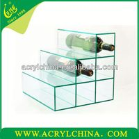 2015 new desktop Acrylic wine bottle display stand Clear Plastic Wine Rack