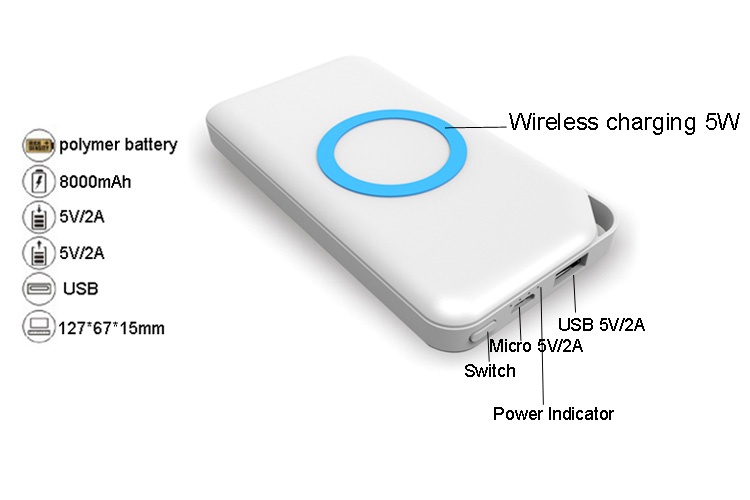 2018 New 8000mAh mobile power bank wireless battery charger
