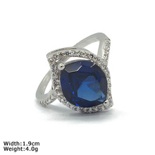 RZR-1047 Fine Cutting Synthetic Sapphire Silver Rings for Women