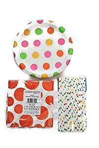 Orange Polka Dot Party Bundle: Sixteen Paper Straws Covered in Multi Colored Polka Dots, Sixteen Orange Polka Dots and Chevron Patterned Paper Napkins and Eight Multi Colored Polka Dot Plates.