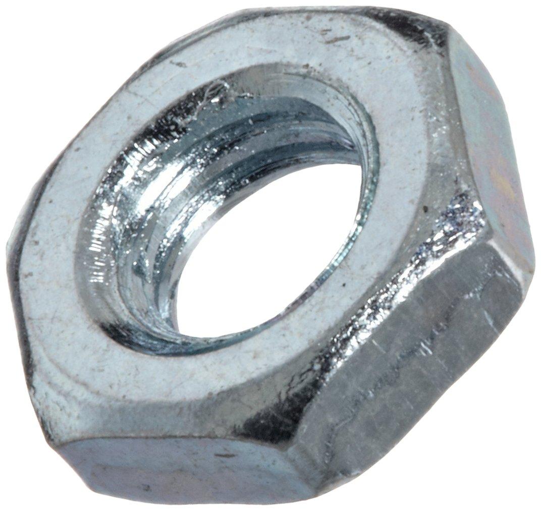 Steel Hex Jam Nut, Zinc Plated Finish, Class 4, DIN 439B, Metric, M4-0.7 Thread Size, 7 mm Width Across Flats, 2.2 mm Thick (Pack of 100)