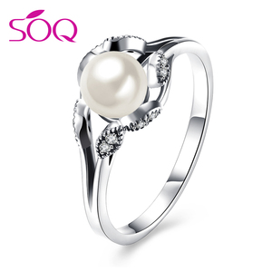 Best Valentine Gift Vogue Exquisite Imitation Pearl Decoration New Design Rings Silver Jewelry