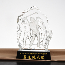 Wholesale crystal ice mountain with different shapes crystal awards with base for business trophy gifts