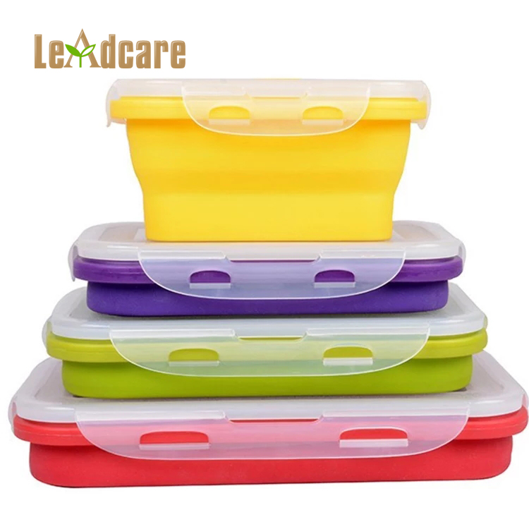 Rectangle Microwave Oven Safe Food Storage Containers Folding Collapsible Silicone Food Warmer Lunch Box