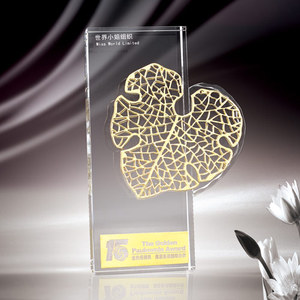 Leaf heart shaped clear crystal plaque for gift/sport award/ home decoration