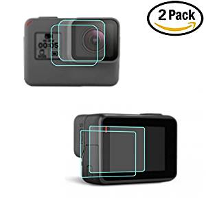 eTopxizu Accessories for Gopro hero 5,Black Sport Camera(Screen and Lens) Film Screen Protector for GoPro Hero 5,2 Pack (4 Pcs) Anti-scratch Hero5 Tempered Glass Film Accessory
