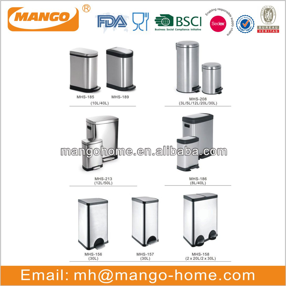 5L Stainless Steel Hotel Room Square Dustbin Garbage Trash C an withStep Foot Pedal Waste bin Dust Bin