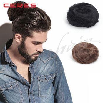 Fashion Original Clip On Man Bun Wig Natural Black Color Mens Wigs In China