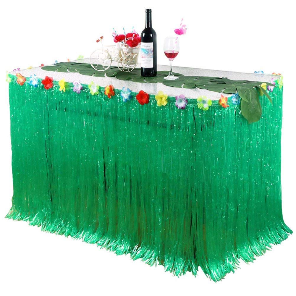 Luau Table Skirt,Hawaiian Luau Hibiscus Grass Table Skirting 9.6 Ft with 26 Faux Silk Flowers,Artificial Grass Table Cover Skirts for Tropical Garden Beach Summer Party Decoration (Green)