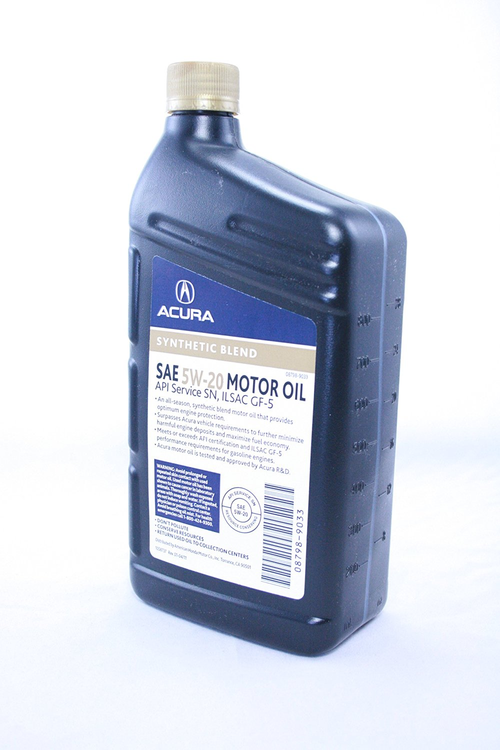 Acura Synthetic Blend Motor Oil SAE 5W 20 MADE BY HONDA 1 Quart