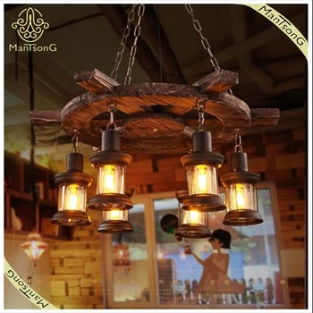 Holiday Lighting!Good Design Book Store Vintage Pendant Lamp Wood  Decorative, High Quality Iron