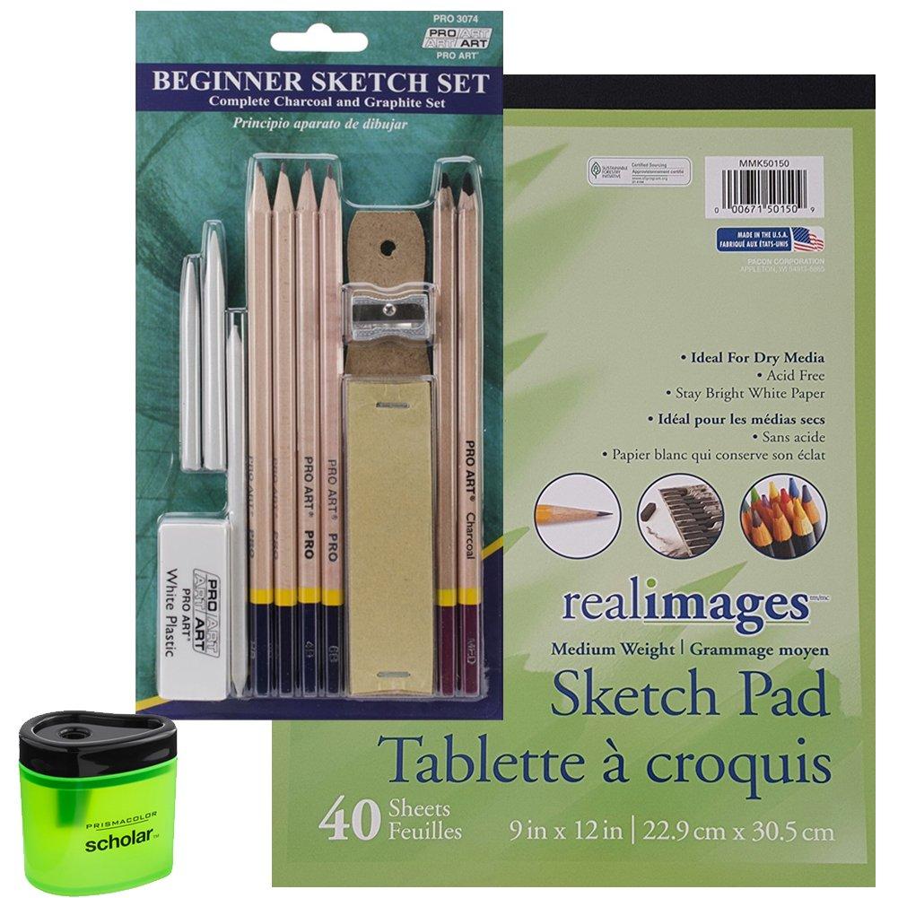 Pro Art Beginner Pencil Sketch Set, 40 Sheet Sketch Pad and Prismacolor Pencil Sharpener (Bundle of 3 Items)