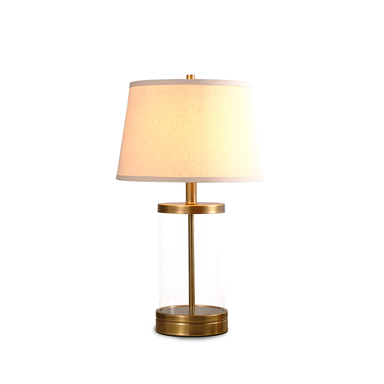 Led Handmade Fabric Shade High-Quality Explosion-Proof Glass Body Rustic Living Room Table Lamp