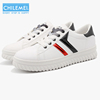 Lastest PU leather fashion sneaker lace-up white casual shoes wholesale for women