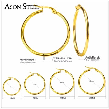 Smooth Circle Basketball Brincos Celebrity Brand Stainless Steel Hoop Earrings For Women Jewelry