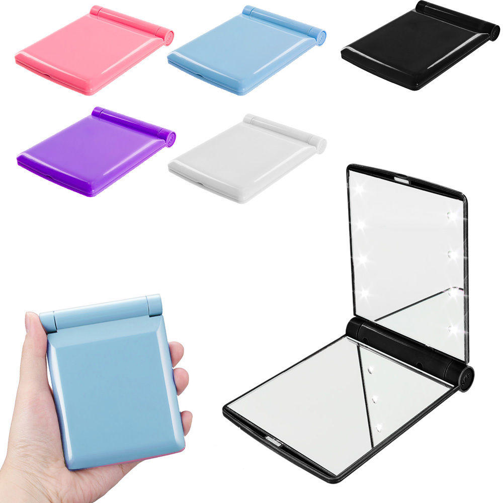 LED Lighted Makeup Mirror Mini Square Mirror Pocket Make up Small Travel Cosmetic Folding Makeup Mirror