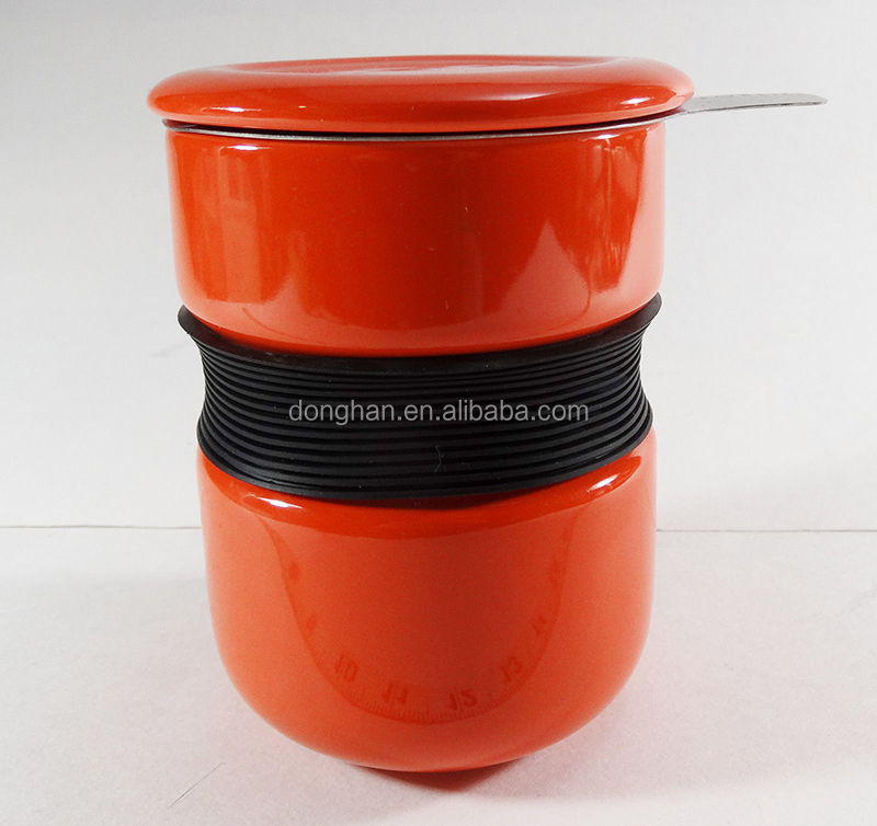 hot sell large capacity red tea cup with silicone belt and infuser and lid