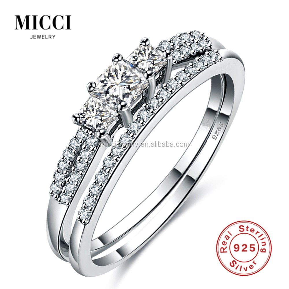 2017 fashion new design 925 sterling silver couple engagement rings western wedding ring set