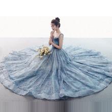 Женское вечернее платье It's Yiiya, элегантное голубое длинное платье с v-образным вырезом, вечерние платья с блестками, E657, 2019(Китай)