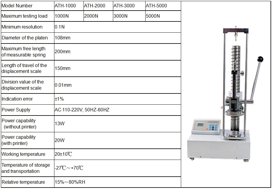 Digital spring extension and compression testing machine