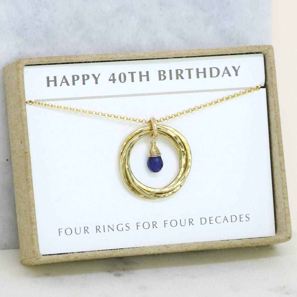 40th birthday gift, 40th necklace with September birthstone, sapphire jewelry, 4 rings 4 decades - Lilia
