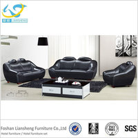 Black Luxury Genuine Leather Sofas Modern Leather Sofa Set For hotel
