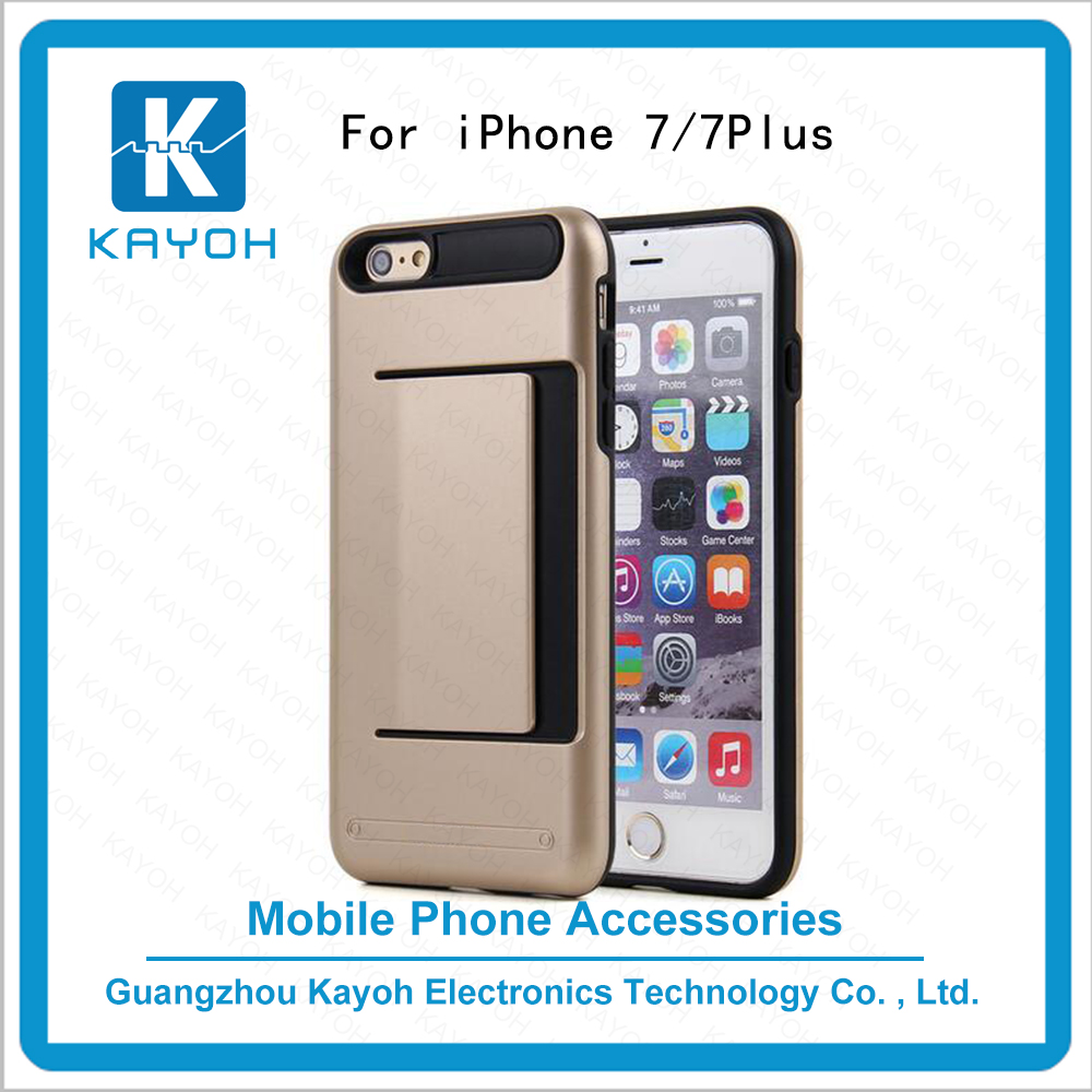 [kayoh]heavy duty 2 in 1 hybrid rugged tpu custom phone cases card king covers for iphone 7