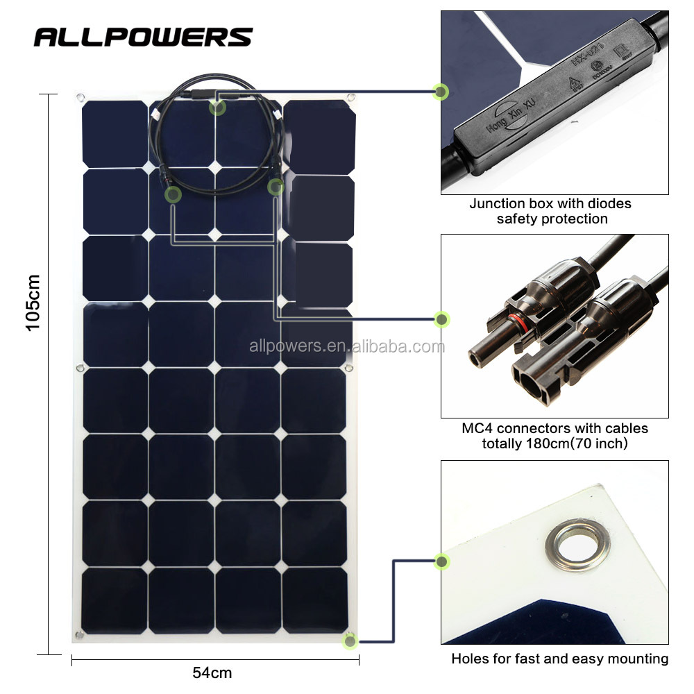 ALLPOWERS 100W 200W 12V 18V monocrystalline Semi Flexible Solar Panel Kit with MC4 Connector Cable