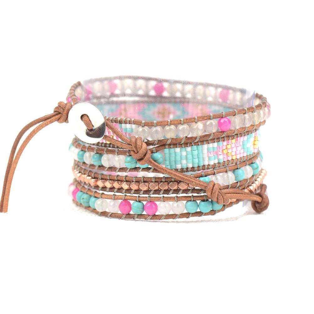 Boho Style Multi Layered Leather Wrap Seed Bead Bracelet Custom ...