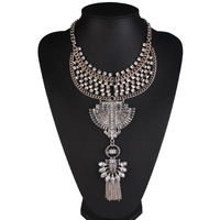 2016 Collares Women Gros Collier Femme Necklaces Pendants Crystal Jewelry Vintage Silver Gold Chains