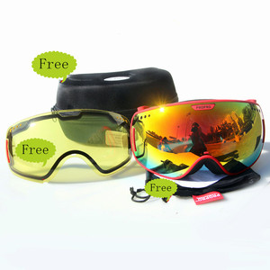 Fashionable Ski Snowmobile Snowboarding Goggles With Big Spherical and Detachable Spare Lens